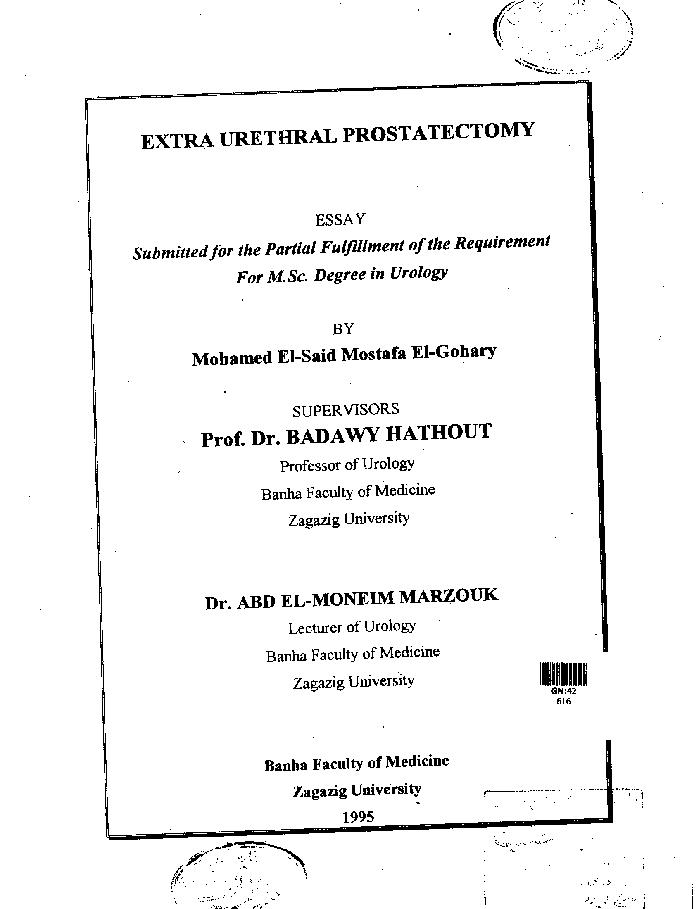 Author Elgohary Mohamed Elsaid Mostafa Title Extra Urethral  Author Elgohary Mohamed Elsaid Mostafa Title Extra Urethral  Prostatectomy