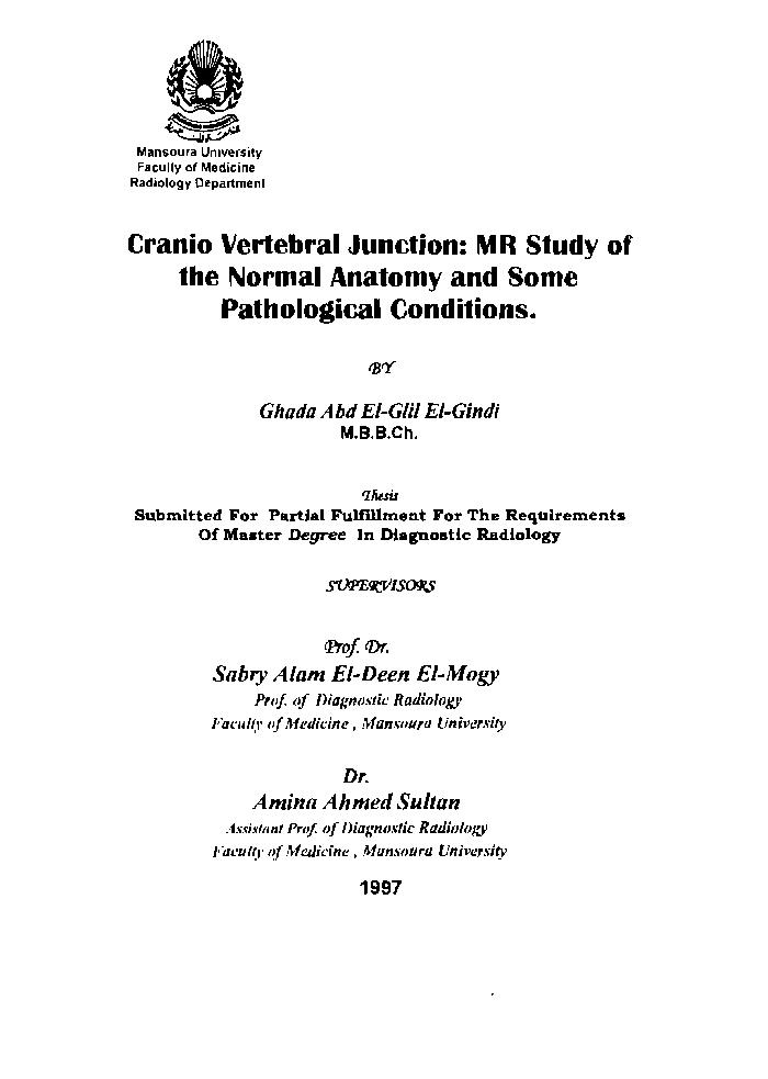Author: El-Gindy, Ghada Abd El-Glil./ Title: Cranio vertebral junction :